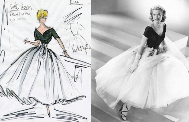 hitchcock costume design sketch